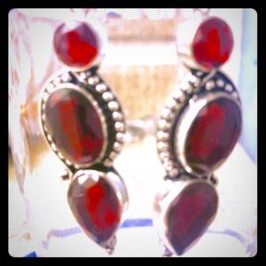 Sterling Silver Red Stained Glass Earrings